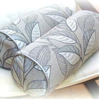 Silver leaf bolster neckroll  pillow cover 20x20 18x18 – 9x20 neckroll – Black white piping chair cushion cover – Outdoor indoor throw sham