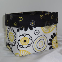 Beautiful Black, White and Yellow Large Fabric Basket