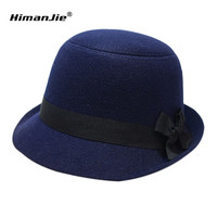 2016 New Stylish Vintage Women's Lady With Wide Brim Wool Bowler Fedora Hats Floppy Cloche Sun Beach Bowknot Caps
