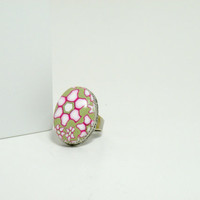 Adjustable Antique Finish Oval Flower Ring in Spring Colors, Pink, Green