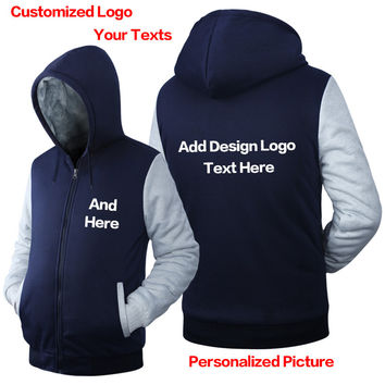 High Quality custom Hoodie plain LOGO DIY Sweatshirt customized pattern print design Thicken Zipper hoodies men