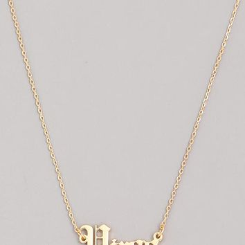 Old English Virgo Necklace in Gold