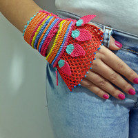 Beaded Crochet Cuff - Turkish Lace - Colorful Beaded Crochet Bracelet and Flower Patterns - Cotton Yarn Bracelet -