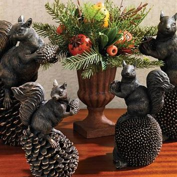 Horatio The Happy Hoarder | Squirrel on Pinecone Figurine