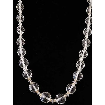 "Vintage Estate Jewelry Necklace Rock Crystal Beads 14K 36"" 1920"