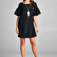 Black Bell Sleeve Shift Dress