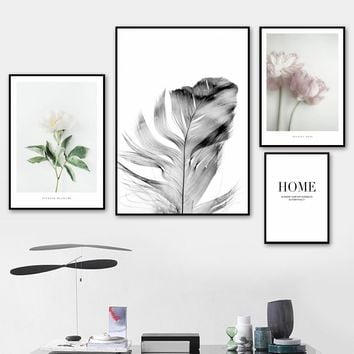 Wall Art Canvas Painting Camellia Feather Quotes Bedroom Pop Art Nordic Posters And Prints Wall Pictures Kids Living Room Decor