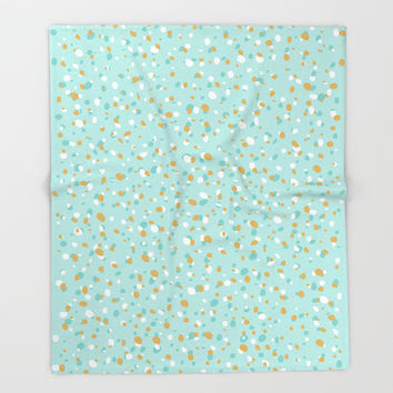 Aqua Turquoise Terrazzo Throw Blanket by printapix