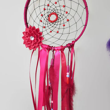 7' Red Dreamcatcher, Large Dream Catcher, Unique Dreamcatcher, Nursery Mobile.  Nursery Wall Hanging