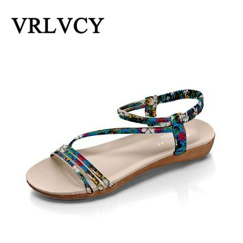 Summer Women Sandals Bohemia Jelly Flats Rubber Open Toe Beach Sandals Gladiator Shoes Women Sandalias Mujer Ladies Shoes
