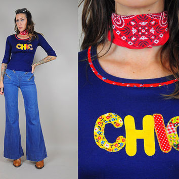 70's Novelty CHIC Patchwork tee