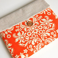 iPad Case for Women, iPad Sleeve Case, Padded iPad Clutch - Orange Damask