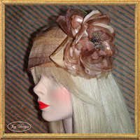 Handmade Gold and Brown Italian Sinamay Linen Headwrap with a Hand Beaded Silk Organza and Velvet Flower Great for a Boho or Gatsby Look