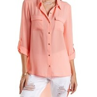 High-Low Button-Up Top by Charlotte Russe