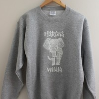 Hakuna Matata Elephant Gray Graphic Sweatshirt