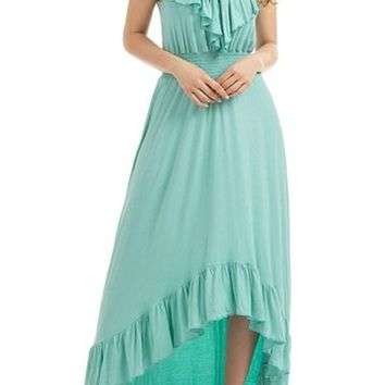 Mint Green Lace Up Shoulder Strap Ruffle Trim Hi-low Maxi Dress
