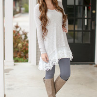 Paris in Springtime Sweater with Lace - Grey