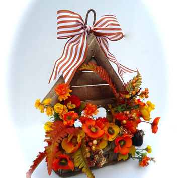 Front Door Wreath - Wooden Birdhouse Floral Arrangement -Fall Wreath Summer Wreath- Orange and Yellow Floral Wreath