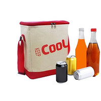 Deco Source Soft Cooler Bag with Aluminum Thermal Liner and Adjustable Shoulder Strap, Red and White