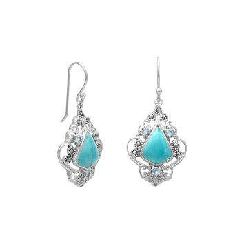 Sterling Silver Reconstituted Turquoise, Blue Topaz and Marcasite Dangle Earrings