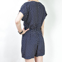 SUMMER SALE 50% OFF - 60s Retro Summer French Romper. Polka Dot Navy Blue Woman Sailor. Buttons Playsuit. Made in France. Size S-M