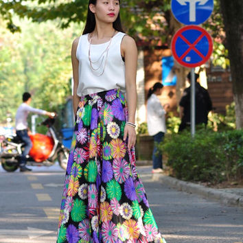 High Waist Long Floral Skirts Chiffon Elastic Waist Summer Skirt Custom Made (173)