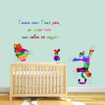 kcik1991 Full Color Wall decal Watercolor Character Disney Winnie the Pooh Tigger Piglet quote Sticker Disney children's room
