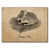Burlap Vintage Field Mouse Thinking of You Postcar Postcards from Zazzle.com