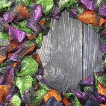 Halloween Fall Thanksgiving Autumn Glitter Green Purple Black Orange Wreath