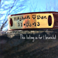 Personalized Hand Stamped Couples Bracelet-  Mens Hand-Tooled Leather Cuff Wristband - 2 lines