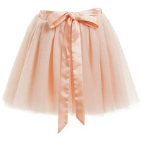 Fun&Fun - Girls Peach-Pink Tulle Skirt with Ribbon Belt