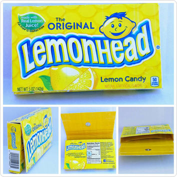 Upcycled- Lemonhead Candy Box - Wallet -Pouch
