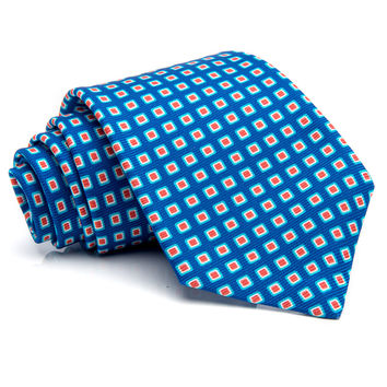 Kiton Blue with Orange Squares Tie