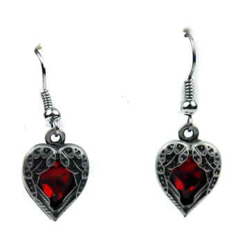 Fallen Dark Angel Wings & Red Heart Gothic Earrings Cosplay