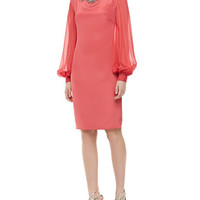Notte by Marchesa Long-Sleeve Jeweled Cocktail Dress