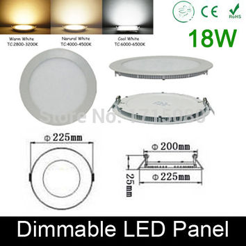 High quality dimmable 18W LED panel light round LED Recessed ceiling painel light fixtures 4000K for bathroom luminaire lamp