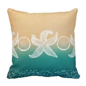 Starfish & Sand Dollars Throw Pillow