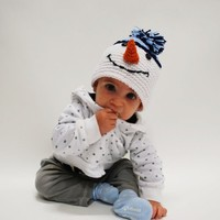 Melondipity Boys Mr. Frosty Crochet Baby Hat - White Snowman Christmas Beanie