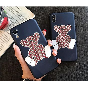 Burberry cute letter bear iPhone XS Max mobile phone shell all inclusive soft shell