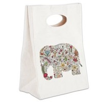 Floral Elephant Silhouette Canvas Lunch Tote> Floral Elephant Silhouette> Natures Little Treasures
