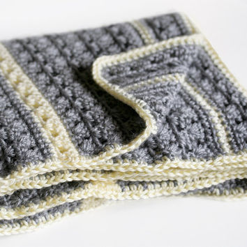 Crochet Baby Blanket // Yellow and Gray Granny Stripe // Gender Neutral Baby Blanket