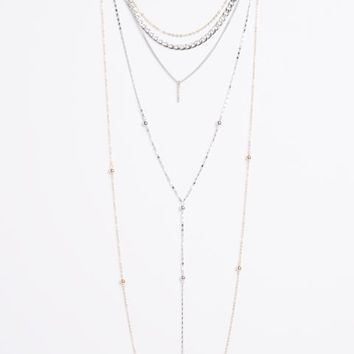 Mixed Metal Layered Link Necklace