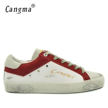CANGMA Minimalist Design 100% Genuine Suede Leather Men Sneakers Casual Shoes Breathable Man White Male Shoes Lace-up Footwear
