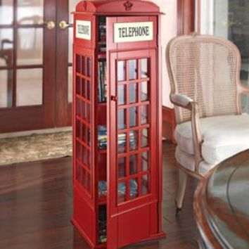 Merveilleux Phone Booth CD Cabinet, DVD Storage Tower, Red Phone Booth Storage Case |  Solutions