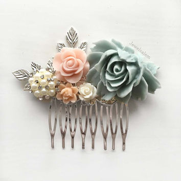Pastel Wedding Hair Comb, Bridal Hair Pin, Personalised, Floral Hair Slide, Gray Blue, Blush Pink, Pearl, Silver Leaves, Bridesmaid Gift