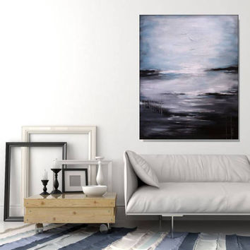 Large Art Blue Abstract Painting Seascape Wall Art Original Modern Artwork Large Abstract Coastal Wall Art Black And White Art Christovart
