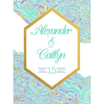 Custom Wedding Elegant Golden Turquoise Marble Backdrop (ANY TEXT) Engagement, Birthday, Baby Shower - C0200