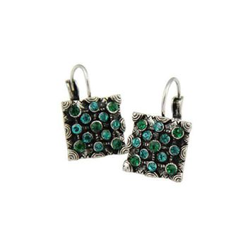 Newest Classic Trendy Vintage Silver Color Blue Magic Green Crystal Square Statement Drop Earring For Women Fashion Jewelry 2017