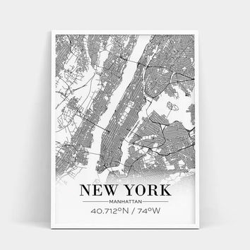 New York City Map Poster, New York Poster, New York Map Print, New York City Map Print, Street Map Print, Live Room Print, Printed & Shipped