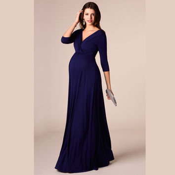 HI BLOOM Mother's Days Tencel Womens Pregnant Dress Long V-Neck Maternity Dresses Noble Prom Party Gowns Evening Vestidos HOT